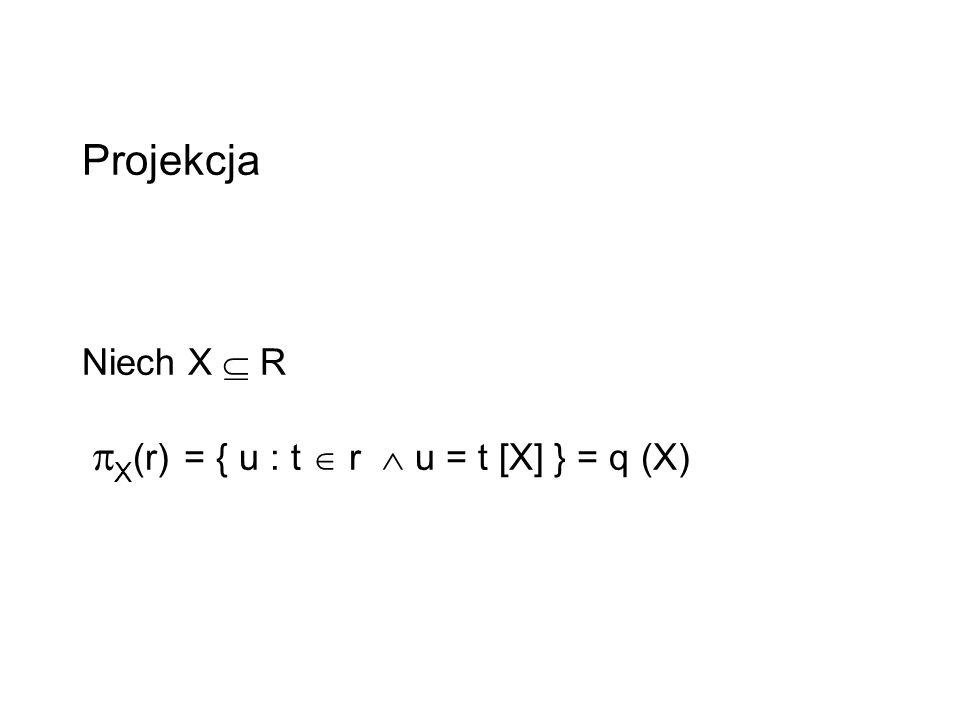Projekcja Niech X  R X(r) = { u : t  r  u = t [X] } = q (X)